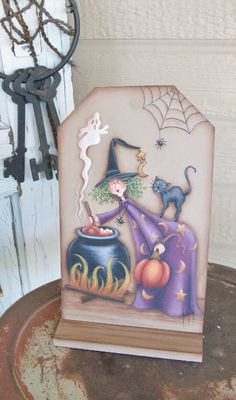 Handpainted Halloween Witch Decoration by ToletallyPainted on Etsy,