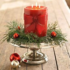 holiday, beeswax candles, christmas centerpieces, cakes, cake stands, bows, christmas candles, glass ornaments, cake plates