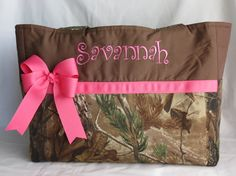 Camo Diaper Bag with bow - Baby Girl - Pink - Monogrammed - Washable - Large - Travel - Made to Order on Etsy, $60.00