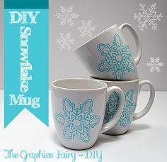 ^Supplies:    1) Plain white Mug or Mugs.  2)Martha Stewart Adhesive Silkscreen from Plaid  3)Foam Pouncer  4)Martha Stewart Glass Paint - Gloss Opaque ( Color - Pool)