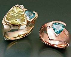 14k yellow gold ring with large yellow Quartz and Sapphire 14k rose gold ring with Malawi Sapphire and Diamonds
