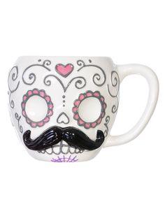 skulls, sugar skull mustache mug, stuff, sugar skull cards, skull stach, plasticland, mustach sugar, thing, mugs