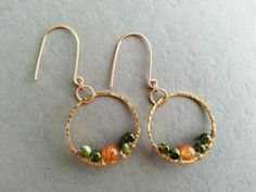 Hammered Gold Hoops Wire Wrapped Green and Orange by BandieGirl