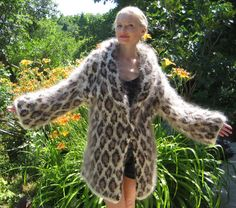 Very Thick Hand Knitted Mohair Sweater Coat Leopard by supertanya, $750.00