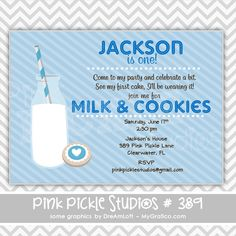 Cookies & Milk Blue Personalized Party Invitation-personalized invitation, photo card, photo invitation, digital, party invitation, birthday, shower, announcement, printable, print, diy,