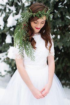 winter bride // photo by Callie Hobbs Photography // http://ruffledblog.com/christmas-woodland-inspiration