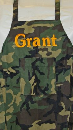 Camouflage apron will be personalized with the child's name.