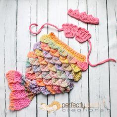 Ready To Ship Newborn Baby Girl Pink Mermaid Tiara Cape Set Crochet Photo Prop | Perfectly Sweet Items