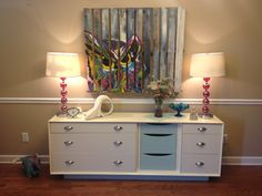 Pallet art. Repurposed dresser.