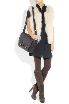 Fur vest, silk-crepe shirt dress