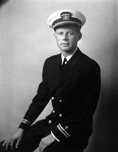 John F. Kennedy in his Navy uniform.