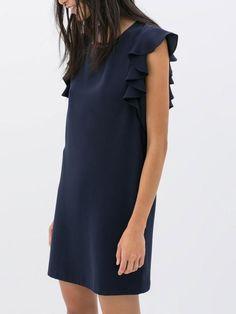 dress with ruffles, navi dress, ruffl sleev