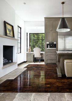 white walls, windows, greige cabinets, gorgeous floor