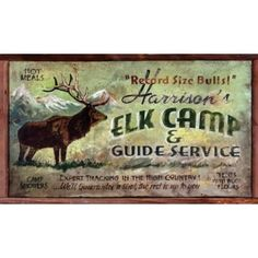 Elk Camp Vintage Sign - Personalized | Custom Cabin Signs | Antlers Etc - Rustic Cabin, Lodge & Hunting Decor