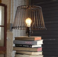old books lamp