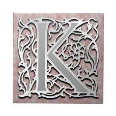 """K Monogram """"Silver Stone"""" Ceramic Tile"""