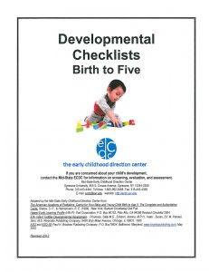 Developmental Checklist 0-5 ALSO: http://www.community.nsw.gov.au/docswr/_assets/main/documents/par_development.pdf (NSW) ALSO: http://foi.deewr.gov.au/system/files/doc/other/developmental-milestones.pdf (EYLF)