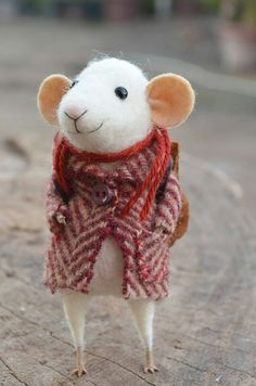Simply adorable!  He makes me giggle! Too cute, felted mouse character with bags of personality :D