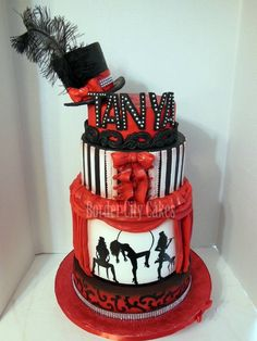 Burlesque Themed Cake - All edible other than the diamond band on the bottom and on the hat, as well as the feather. Hand painted silhouettes. :)