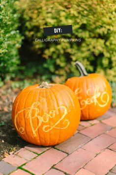 Decorating for Halloween? You need to try these DIY calligraphy pumpkins: http://www.stylemepretty.com/living/2013/10/21/diy-calligraphy-pumpkins/ | Photography: Ruth Eileen - http://rutheileenphotography.com/