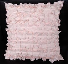 chic pale pink ruffled pillow