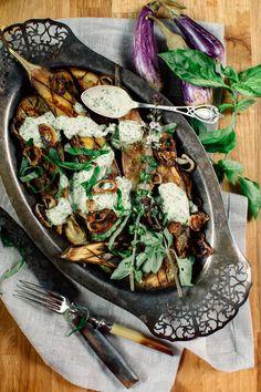 Miso Grilled Eggplant with Thai Basil Garlic Sauce + Freekeh | Earthy Feast