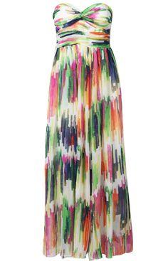 Multi Strapless Bandeau Print Chiffon Dress - Sheinside.com