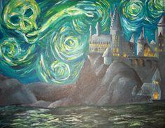 harri potter, hogwarts, vans, harry potter, paintings, print, starri night, night style, starry nights