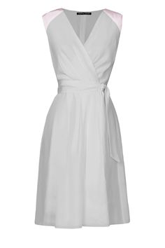 Bow and Drape custom dress - light grey with blush trim. What do people think??