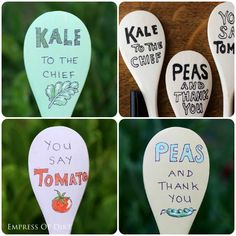 DIY garden plant markers - easy project with wooden spoons