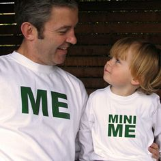 Mini Me T-Shirt for Kid - Me and Mini Me Matching Father Son T-Shirts - White  What a super cute idea for Father's Day :-)