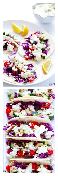 Greek Fish Tacos -- made with fresh ingredients, and topped with homemade tzatziki sauce | gimmesomeoven.com #glutenfree