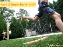 Hours of Summer Fun in the Water for only $1- entertain all the neighborhood kids for cheap.  #waterplay #Summer #water #kids #boredombusters Water Sprinkler from foam pool noodle- summer water fun