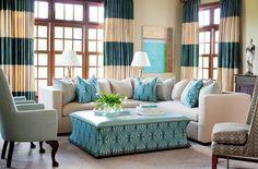 striped curtain panels- decor, curtains, living rooms, color schemes, dream, paint colors, homes, design, blues