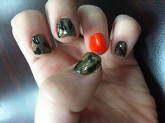 Hunting camouflage nail art Nailsnailsnails, Nails Art, Camouflage Nails, Nails Nails Nails, Nails Polish, Hunting Nails, Clothes Nails