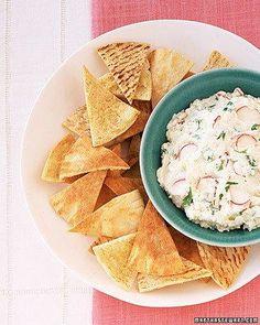 Pita Crisps with Feta-Radish Spread Recipe