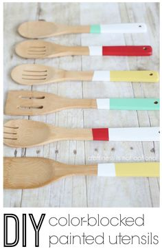 DIY color blocked painted utensils.