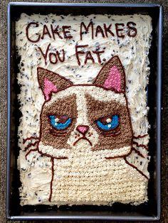 Grumpy Cat Cake | cake makes you fat... #grumpycat