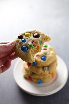 Big Soft M&M Cookies - Pinch of Yum