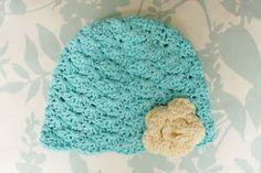 Lacy shells hat--free pattern--6 mo.