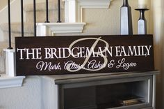 Personalized Family Name Sign 11x42. $75.00, via Etsy.