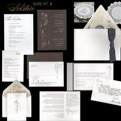 """""""Solstice"""" has embossed paper and calligraphy combined, along with having a pocket and ribbon details."""
