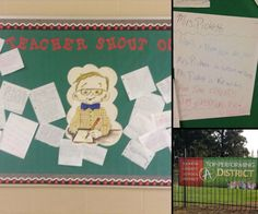 Our teacher shout out board. Give students a place to practice writing & share love for their teachers.
