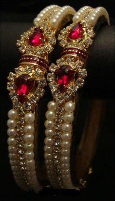 beautiful bracelets...rubies, pearls and diamonds