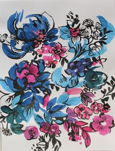 Original handpainted floral artwork ink line and by ClareTherese, £14.00