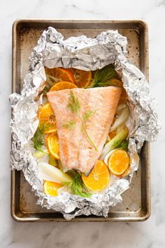 Oven-Baked Salmon with Clementines & Fennel