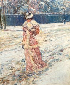 """""""Lady in Pink"""" by Frederick Childe Hassam (1859-1935), American Impressionistic Painter."""