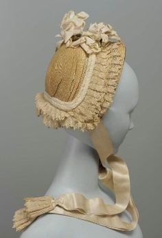 Wedding Bonnet of Leghorn Straw & Lace Ruching. American, c. 1865.