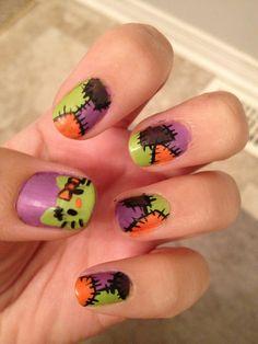 like the patchwork idea,   the hello kitty nail