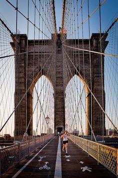 walked across Brooklyn Bridge New York,city